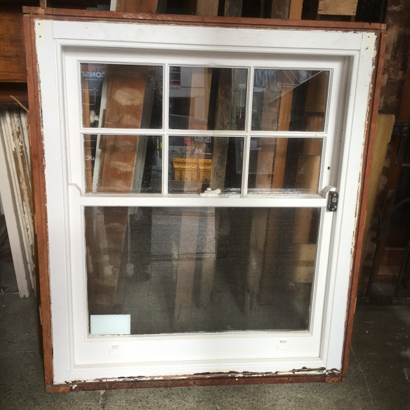 ON HOLD Colonial sash window, 6 small panes in the upper section, with 1040 x height 1215 x depth 120mm, $330 salvaged, recycled, demolition, reproduction, restoration, home renovation secondhand, used , original, old, reclaimed, heritage, antique, victorian, art nouveau edwardian, georgian, art deco