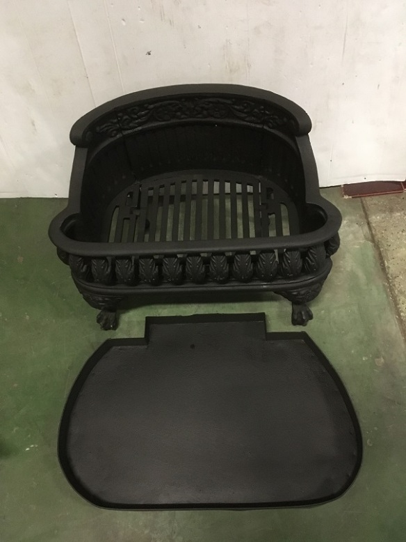 Original cast iron fireplace basket for wood burning. width 540 x depth 340 x height 390mm $345 including ashpan salvaged, recycled, demolition, reproduction, restoration, home renovation secondhand, used , original, old, reclaimed, heritage, antique, victorian, art nouveau edwardian, georgian, art deco