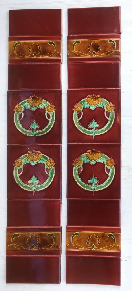 original T and R Boote, England, c1905 fireplace tile set, 6 x 6 inch circular floral design and 3 x 6 inch decorative tiles, rich burgundy glaze with deep yellow flowers, green foliage. Two panel fireplace set, $350 OTB 80salvaged, recycled, demolition, reproduction, restoration, renovation,collectable, secondhand, used , original, old, reclaimed, heritage, antique, victorian, art nouveau edwardian, georgian, art deco