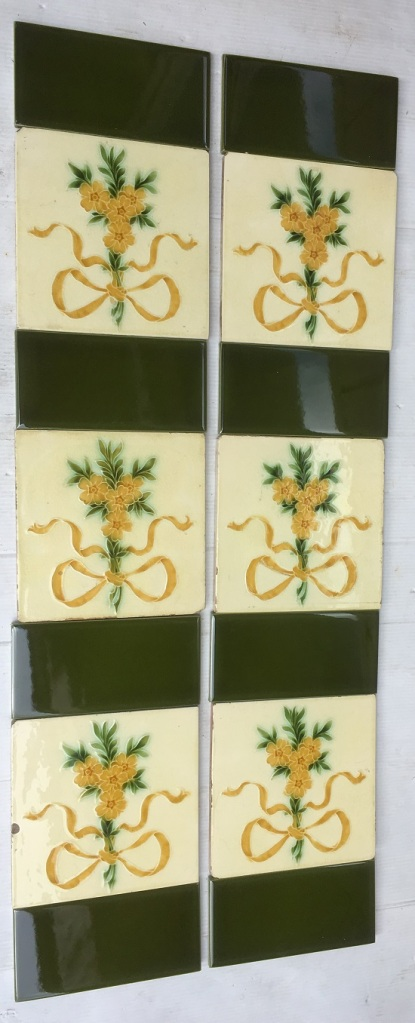Pilkingtons Tile and Pottery Co. feature tiles, c1900, honey coloured flowers and ribbon, green foliage on pale yellow glaze, $310 SET 207 salvaged, recycled, demolition, reproduction, restoration, home renovation secondhand, used , original, old, reclaimed, heritage, antique, victorian, art nouveau edwardian, georgian, art deco