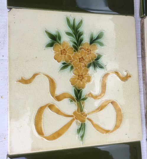 Pilkingtons Tile and Pottery Co. feature tiles, c1900, honey coloured flowers and ribbon, green foliage on pale yellow glaze, $310 SET 207 salvaged, recycled, demolition, reproduction, restoration, renovation,collectable, secondhand, used , original, old, reclaimed, heritage, antique, victorian, art nouveau edwardian, georgian, art deco