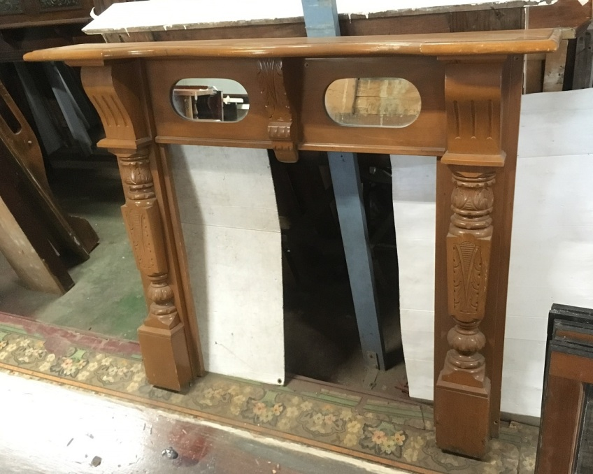 Edwardian style mantle with oval mirrors , top shelf is 1540 mm x 245 mm , height is 1250 mm , opening is 920 mm x920 mm , $ 440