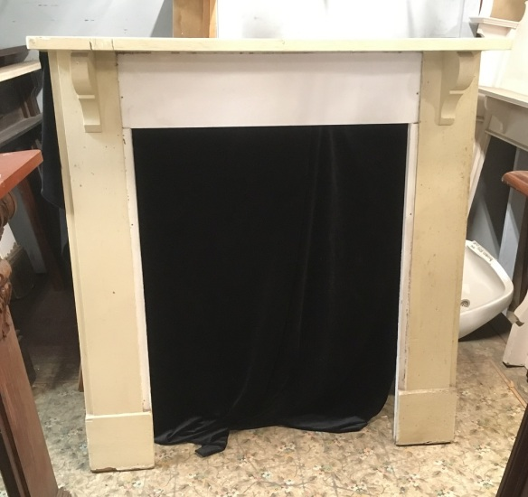 Kitchen style mantle piece , top shelf is 1400 mm x 220 mm , height is 1490 mm , opening is 925 mm wide x 1225 mm tall , $ 245