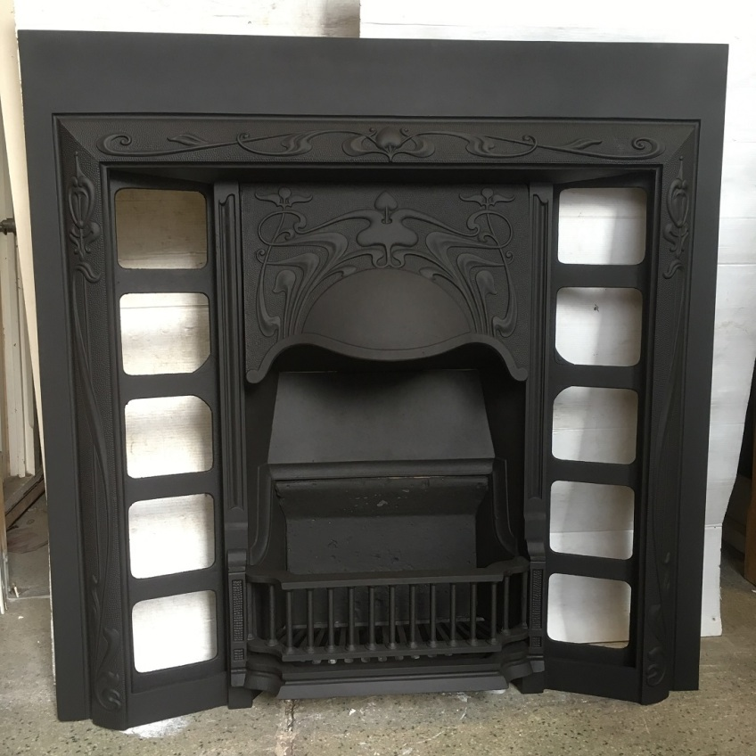 Original Art Nouveau Stella foundry, No.213 cast iron fireplace insert, fully restored, w 965 x h 970mm $575 salvaged, recycled, demolition, reproduction, restoration, home renovation secondhand, used , original, old, reclaimed, heritage, antique, victorian, art nouveau edwardian, georgian, art deco