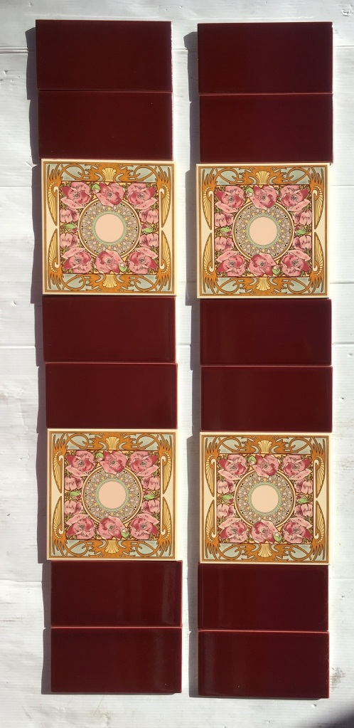 Mucha style reproduction feature tiles with pink poppies, 153 x 153mm with burgundy half tiles. Two panel set $195 OTB 77 salvaged, recycled, demolition, reproduction, restoration, renovation,collectable, secondhand, used , original, old, reclaimed, heritage, antique, victorian, art nouveau edwardian, georgian, art deco