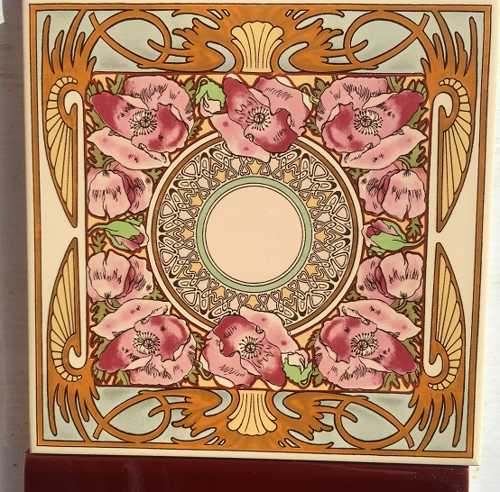 Detail of Mucha style Art Nouveau reproduction feature tiles with pink poppies, 153 x 153mm with burgundy half tiles. Two panel set $195 OTB 77 salvaged, recycled, demolition, reproduction, restoration, renovation,collectable, secondhand, used , original, old, reclaimed, heritage, antique, victorian, art nouveau edwardian, georgian, art deco