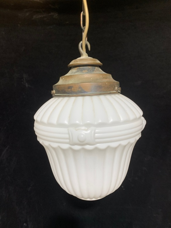 salvaged, vintage recycled, demolition, reproduction, restoration, home renovation secondhand, used , original, old, reclaimed, heritage, antique, victorian, art nouveau edwardian, georgian, art decoPendant light with fluted white glass shade , chain and gallery , $ 145