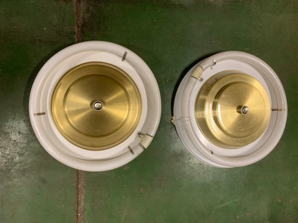Original , brand new/old stock, 1950's ceiling lights, brushed gold finish with circular florescent tubes, 420mm diameter, 2 available, $220 each salvaged, vintage recycled, demolition, reproduction, restoration, home renovation secondhand, used , original, old, reclaimed, heritage, antique, victorian, art nouveau edwardian, georgian, art decoOriginal , brand new /old stock , 1950's ceiling lights with circular florescent tubes , 420 mm diameter , 2 available , $ 220 each