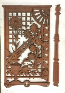 Sunflower and bamboo design cast iron verandah lacework, original late Victorian / Aesthetic period balustrade panels 13 available (width 450 x height 790mm) $185 each; intermediate posts 17 available (height 790 x width 55mm) $55 each. See matching verandah lacework corners and valance in adjacent photo. salvaged, vintage recycled, demolition, reproduction, restoration, home renovation secondhand, used , original, old, reclaimed, heritage, antique, victorian, art nouveau edwardian, georgian, art decoDetail of Deco style lettering to pub door