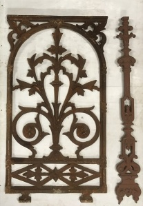 Same Original Victorian cast iron balustrade panels as in adjacent picture, 8 available, width 442 x height 817mm, $185 as is (require grit blasting) with the original intermediate balustrade post. 9 posts available (plus one which may be repaired) $65 as is salvaged, vintage recycled, demolition, reproduction, restoration, home renovation secondhand, used , original, old, reclaimed, heritage, antique, victorian, art nouveau edwardian, georgian, art decoDetail of Deco style lettering to pub door