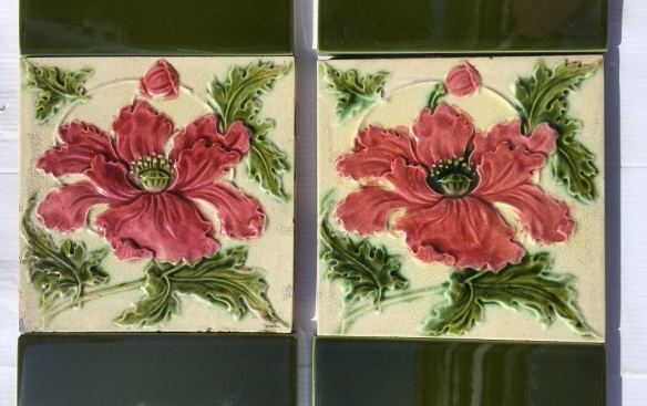 c1900 English feature tiles, burgundy/pink poppy, green leaves on cream ground, two panel fireplace set, $200 OTB 91 (3 additional poppy tiles available WS) salvaged, vintage recycled, demolition, reproduction, restoration, home renovation secondhand, used , original, old, reclaimed, heritage, antique, victorian, art nouveau edwardian, georgian, art decoDetail of Deco style lettering to pub door