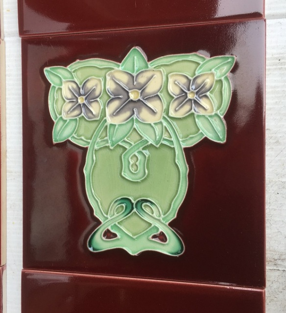 Reproduction H and R Johnson 'tubeline' fireplace tiles, 6 x 6 inch, Art Nouveau style, lavender camelias on burgundy background, 2 panel fireplace set, $140 OTB 81salvaged, recycled, demolition, reproduction, restoration, renovation,collectable, secondhand, used , original, old, reclaimed, heritage, antique, victorian, art nouveau edwardian, georgian, art deco