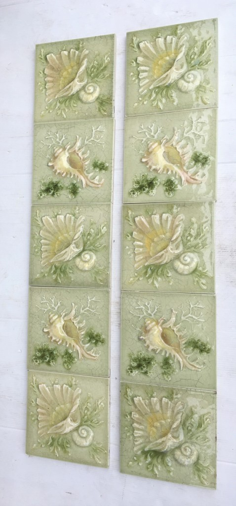 Late 1800s American Encaustic Tile Co. sea shell tiles. Two shell designs in soft greens, two panel fireplace set, (can separate in pairs) $480 SET 215 salvaged, vintage recycled, demolition, reproduction, restoration, home renovation secondhand, used , original, old, reclaimed, heritage, antique, victorian, art nouveau edwardian, georgian, art decoDetail of Deco style lettering to pub door