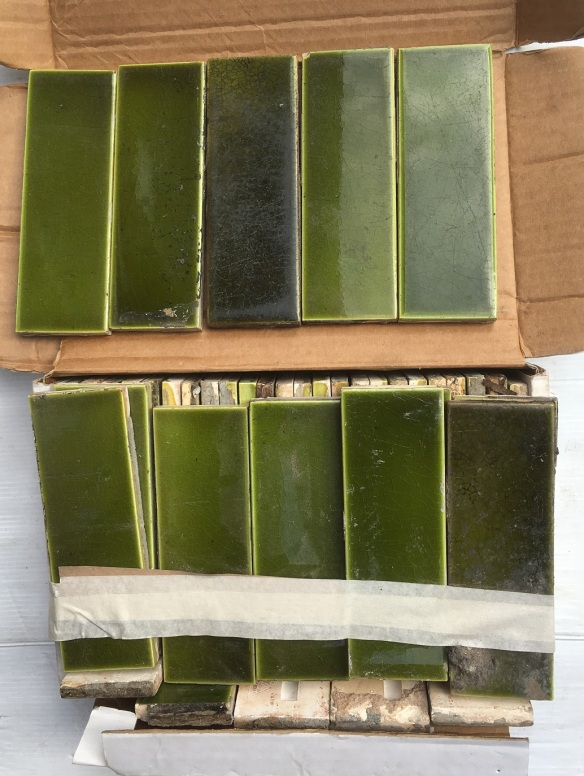 Original Sherwin and Cotton hearth tiles in green, all have some degree of scuffs and wear 2 x 6 inch / 37 available + part tiles $100 for the set SET 212 salvaged, recycled, demolition, reproduction, restoration, renovation,collectable, secondhand, used , original, old, reclaimed, heritage, antique, victorian, art nouveau edwardian, georgian, art deco