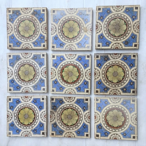 Late Victorian hand tinted feature tiles c1890, Sherwin and Cotton, 9 x available, all have faults in glaze / chips etc. $30 each WS salvaged, vintage recycled, demolition, reproduction, restoration, home renovation secondhand, used , original, old, reclaimed, heritage, antique, victorian, art nouveau edwardian, georgian, art decoDetail of Deco style lettering to pub door