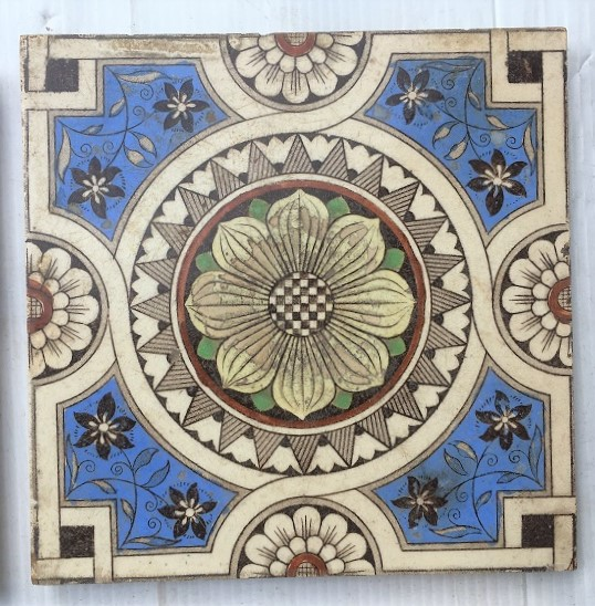 Late Victorian hand tinted feature tiles c1890, Sherwin and Cotton, 9 x available, all have faults in glaze / chips etc. $30 each WS