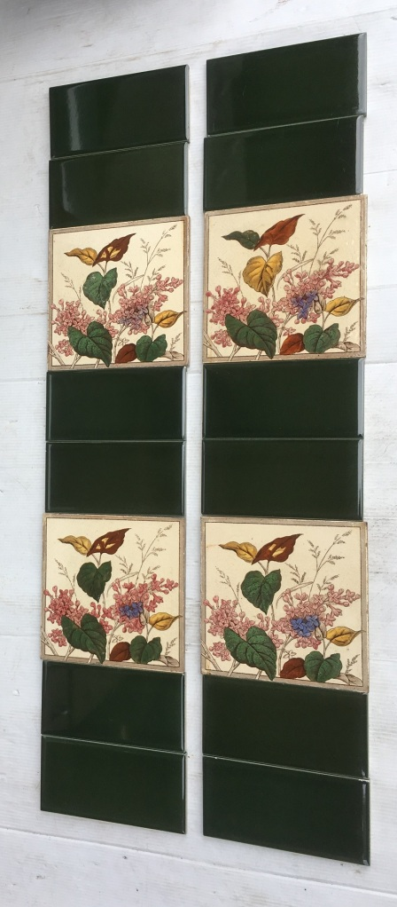 Hand tinted print victorian tiles flowers and foliage $220 2 x additional tiles on the window sill SET 220salvaged, recycled, demolition, reproduction, restoration, home renovation secondhand, used , original, old, reclaimed, heritage, antique, victorian, art nouveau edwardian, georgian, art deco