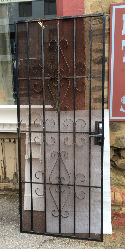 Wrought iron security screen door, a bit rustic, door 815 x 2030mm, $220 salvaged, recycled, demolition, reproduction, restoration, home renovation secondhand, used , original, old, reclaimed, heritage, antique, victorian, art nouveau edwardian, georgian, art deco