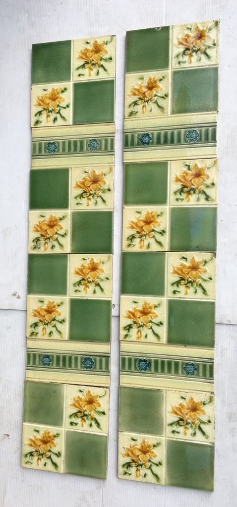 Pilkington Tile Company, England c1900 fireplace tile set, floral quarter pattern with fern green squares, decorative intermediate tiles, two panel fireplace set $240 OTB 89 salvaged, vintage recycled, demolition, reproduction, restoration, home renovation secondhand, used , original, old, reclaimed, heritage, antique, victorian, art nouveau edwardian, georgian, art decoDetail of Deco style lettering to pub door