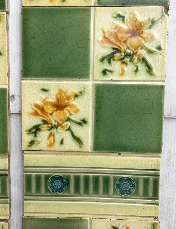 Detail of Pilkington Tile Company, England c1900 fireplace tile set, floral quarter pattern with fern green squares, decorative intermediate tiles, two panel fireplace set $240 OTB 89salvaged, vintage recycled, demolition, reproduction, restoration, home renovation secondhand, used , original, old, reclaimed, heritage, antique, victorian, art nouveau edwardian, georgian, art decoDetail of Deco style lettering to pub door