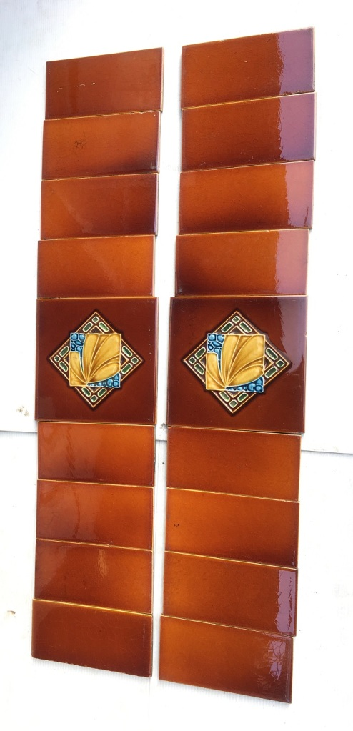 Original majolica tiles, unusual square and diamond design with foliage, amber brown glazes with blue and green details c1925, two panel fireplace set $185 OTB 92 salvaged, vintage recycled, demolition, reproduction, restoration, home renovation secondhand, used , original, old, reclaimed, heritage, antique, victorian, art nouveau edwardian, georgian, art decoDetail of Deco style lettering to pub door