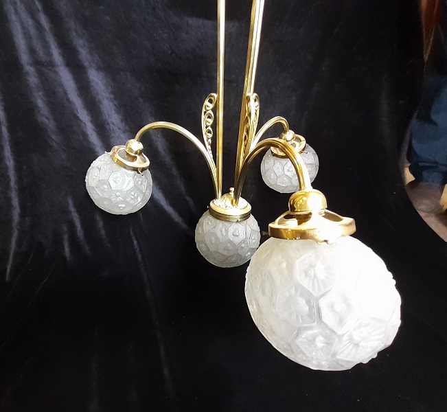 Brass pendant ceiling light, three branch with central light shade, unusual moulded pattern ball shades, frosted with geometric moulded pattern. Drop height 110cm, width 60cm, one available, $345 salvaged, recycled, demolition, reproduction, restoration, home renovation secondhand, used , original, old, reclaimed, heritage, antique, victorian, art nouveau edwardian, georgian, art deco
