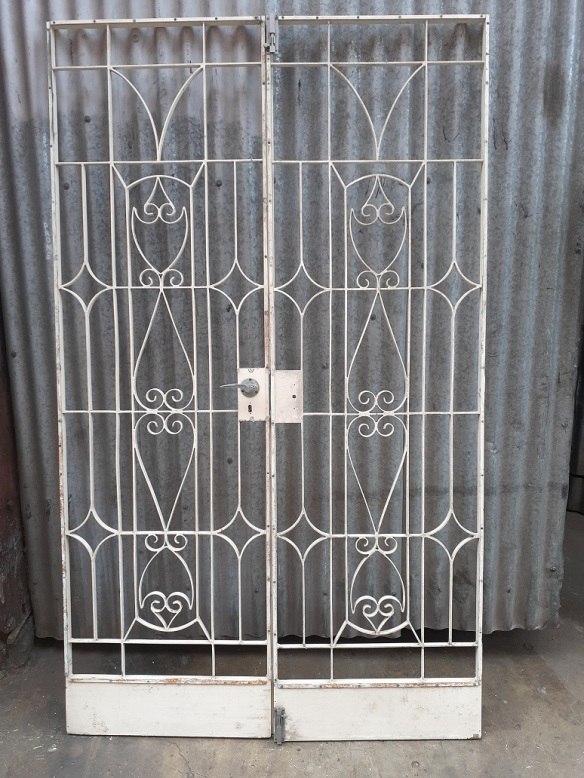 Pair of wrought iron doors 1240 wide x 2075 high $440salvaged, recycled, demolition, reproduction, restoration, home renovation secondhand, used , original, old, reclaimed, heritage, antique, victorian, art nouveau edwardian, georgian, art deco