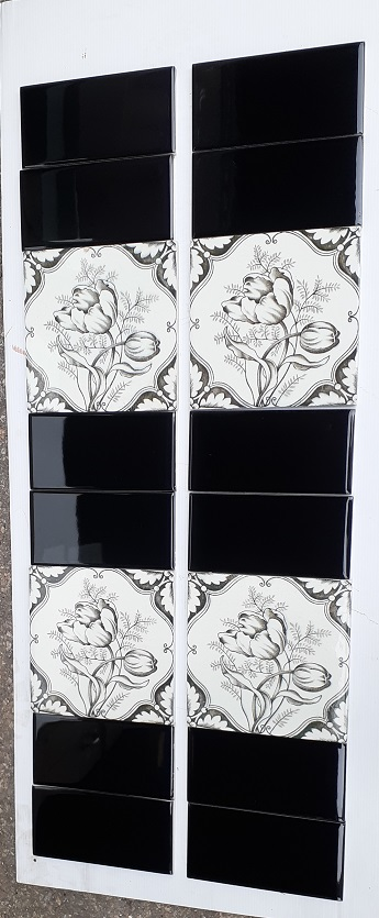 H A Ollivant c1900 England Charcoal tulip print feature tiles 2 panel fireplace set $240 SET 217salvaged, recycled, demolition, reproduction, restoration, home renovation secondhand, used , original, old, reclaimed, heritage, antique, victorian, art nouveau edwardian, georgian, art deco