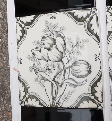 Detail of H A Ollivant c1900 England Charcoal tulip print feature tiles 2 panel fireplace set $240 OTB 95 17salvaged, recycled, demolition, reproduction, restoration, home renovation secondhand, used , original, old, reclaimed, heritage, antique, victorian, art nouveau edwardian, georgian, art deco