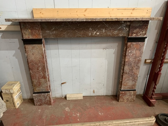 Original Georgian pale rouge marble fireplace mantlepiece with black marble details, top shelf width is 1520 mm x 240 mm , height is 1125 mm , opening is 920mm wide x 91 mm tall, $2500 salvaged, vintage 1900, 1910s, 1920s 1930 1940s recycled demolition reproduction, restoration, home renovation secondhand, used , original,old,reclaimed,heritage,antique, victorian,art nouveau edwardian, georgian,art decoRouge , Georgian mantle , top shelf is 1520 mm x 240 mm , height is 1125 mm , opening is 920 mm wide x 915 mm tall , $ 2500