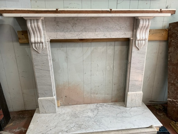 salvaged, vintage 1900, 1910s, 1920s 1930 1940s recycled demolition reproduction, restoration, home renovation secondhand, used , original,old,reclaimed,heritage,antique, victorian,art nouveau edwardian, georgian,art decoVictorian carrara mantle piece, top shelf is 1655 mm x 285 mm , height is 1195 mm , opening is 950 mm wide x 940 mm tall , $ 3000