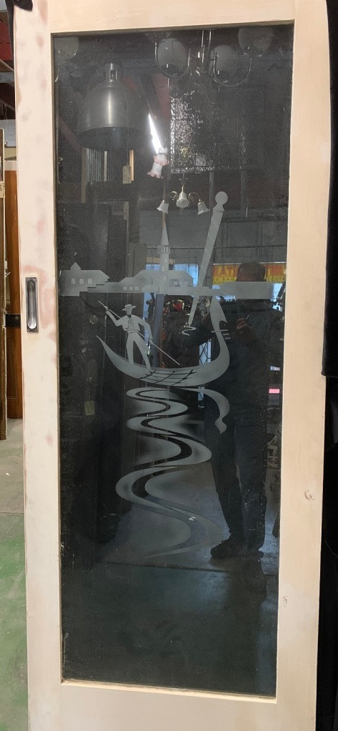 Pair of sliding french doors with etched design of Venice Gondola Boat scene , black cloth back ground for definition , 1600 mm wide x 2055 mm tall plus track , $545 salvaged, vintage 1900, 1910s, 1920s 1930 1940s recycled demolition reproduction, restoration, home renovation secondhand, used , original,old,reclaimed,heritage,antique, victorian,art nouveau edwardian, georgian,art decoPair of sliding french doors with etched design of Gondola Boat scene , black cloth back ground for definition , 1600 mm wide x 2055 mm tall plus track , $ 545