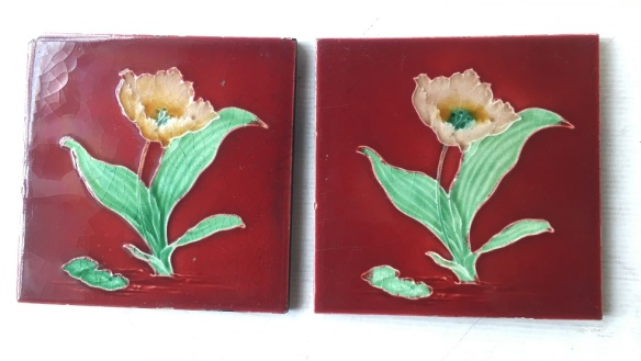 H Richards Tile Co c1905 England. burgundy tile with single yellow flower and foliage, (chip to top corner not visible in a fireplace insert) one pair available $80 WS salvaged, vintage recycled, demolition, reproduction, restoration, home renovation secondhand, used , original, old, reclaimed, heritage, antique, victorian, art nouveau edwardian, georgian, art decoDetail of Deco style lettering to pub door
