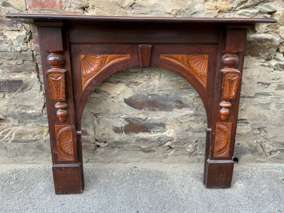 Original Edwardian kauri pine mantle, with original finish , top shelf is 1475 mm x 235 mm , height is 1205 mm , opening is 920 mm wide x 925 mm to the arch , $ 445
