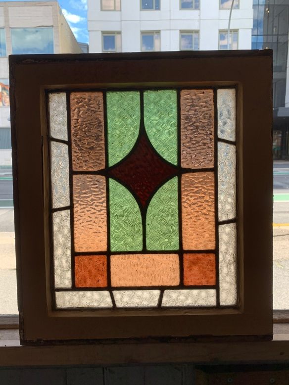 Leadlight panel in frame, frame is 395 mm x 445 mm , glass is 300 mm x 350 mm , $ 125 each , 4 available