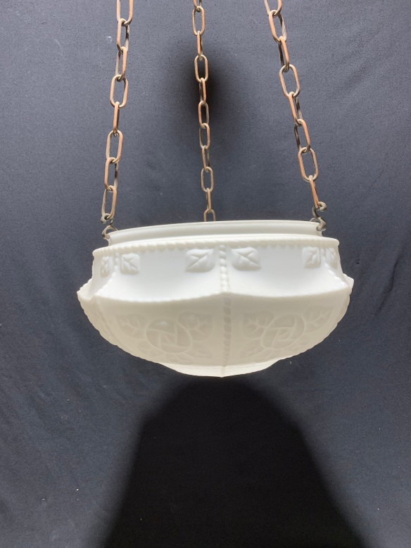 salvaged, vintage 1900, 1910s, 1920s 1930 1940s recycled demolition reproduction, restoration, home renovation secondhand, used , original,old,reclaimed,heritage,antique, victorian,art nouveau edwardian, georgian,art decoOriginal hanging light with milk glass shade , gravity chain set , ceiling gallery , 390 mm diameter x 900 mm drop , tiny chip to one corner, $ 165 , light B1