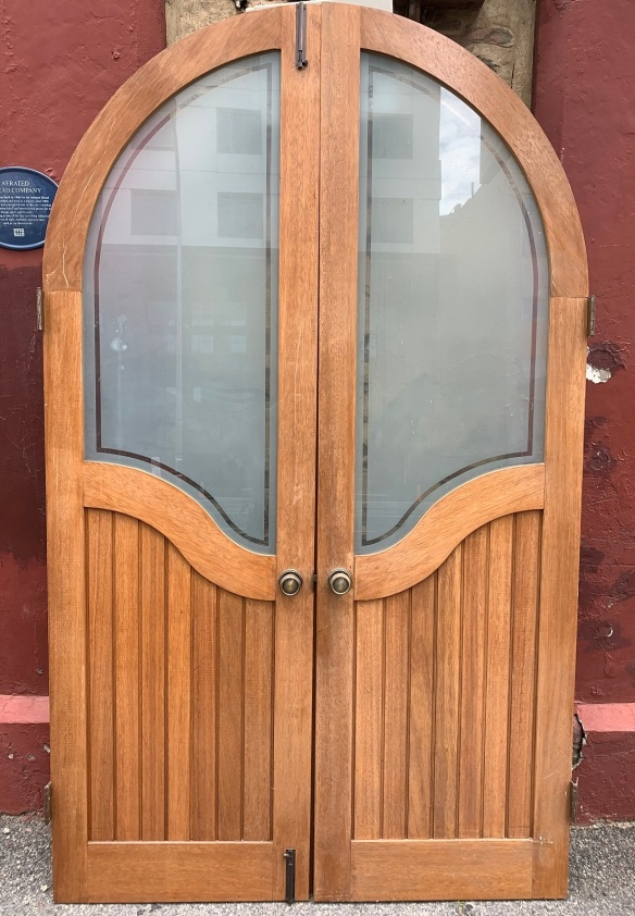 salvaged, vintage 1900, 1910s, 1920s 1930 1940s recycled demolition reproduction, restoration, home renovation secondhand, used , original,old,reclaimed,heritage,antique, victorian,art nouveau edwardian, georgian,art decoLarge pair of arched internal doors with etched glass , 1410 mm wide x 2355 tall ,, 32 mm thick , $ 485 the pair