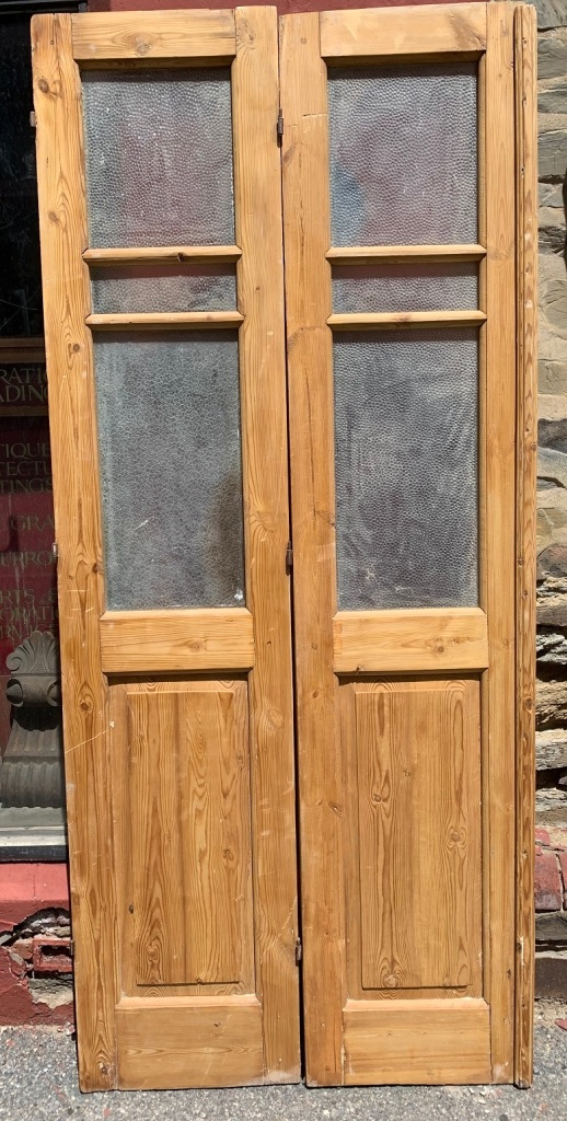 salvaged, vintage 1900, 1910s, 1920s 1930 1940s recycled demolition reproduction, restoration, home renovation secondhand, used , original,old,reclaimed,heritage,antique, victorian,art nouveau edwardian, georgian,art decoPair of pine doors with glass , each door is 480 mm wide x 2235 mm tall ,$ 445 the pair
