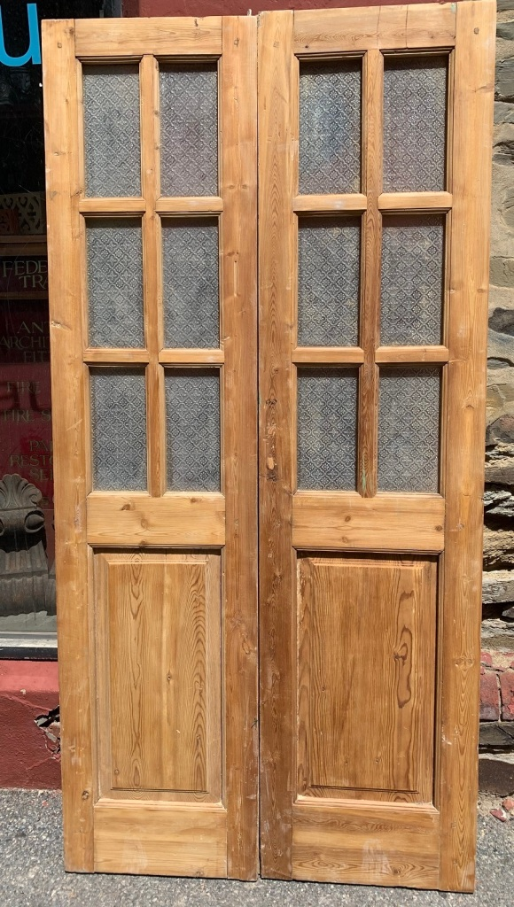 salvaged, vintage 1900, 1910s, 1920s 1930 1940s recycled demolition reproduction, restoration, home renovation secondhand, used , original,old,reclaimed,heritage,antique, victorian,art nouveau edwardian, georgian,art decoPair of stripped pine french doors with decorative glass panels , 1045 mm wide x 2120 mm tall , $ 545 the pair