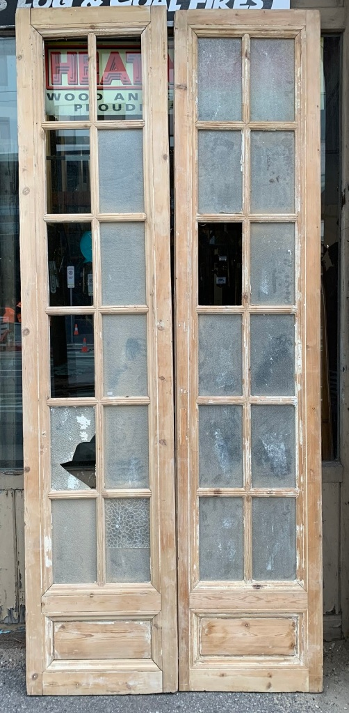 Very tall pair of pine french doors , ( glass will need replacing in some panes ) , 1200 mm wide x 2735 mm tall , $ 645 pair