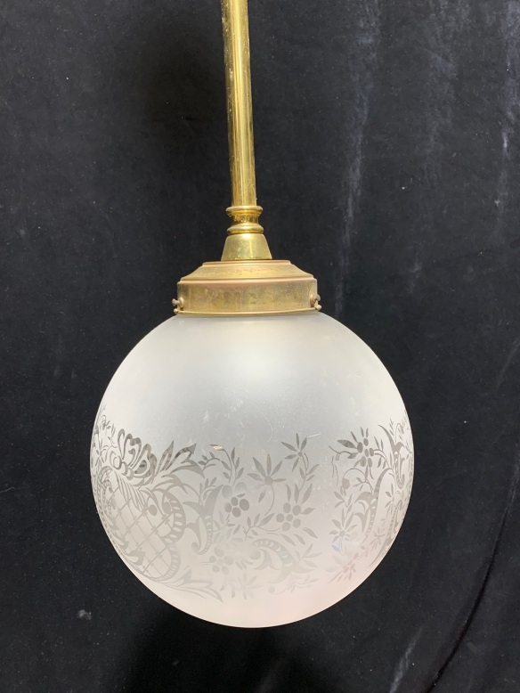 Single ball light withetched shade on brass rod , 1300 mm drop , 250 mm diameter , $ 145