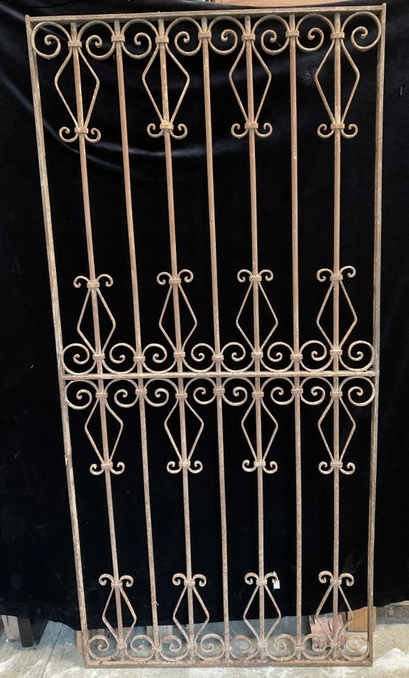 salvaged, vintage 1900, 1910s, 1920s 1930 1940s recycled demolition reproduction, restoration, home renovation secondhand, used , original,old,reclaimed,heritage,antique, victorian,art nouveau edwardian, georgian,art decoDecorative iron screen , 1920 mm tall x 925 mm wide , $ 485