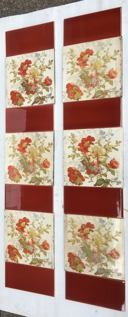 Late Victorian feature tiles, Aesthetic Movement, layered floral print, russet and blue coloured flowers with foliage on cream background. Two panel fireplace set $245 OTB 105 salvaged, vintage recycled, demolition, reproduction, restoration, home renovation secondhand, used , original, old, reclaimed, heritage, antique, victorian, art nouveau edwardian, georgian, art decoDetail of Deco style lettering to pub door