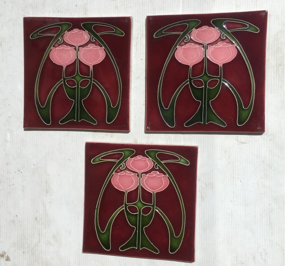 Porteous NZ Art Nouveau design tiles, three stylised pink tulips on burgundy background, some light scuffs $25 each WS salvaged, vintage recycled, demolition, reproduction, restoration, home renovation secondhand, used , original, old, reclaimed, heritage, antique, victorian, art nouveau edwardian, georgian, art decoDetail of Deco style lettering to pub door
