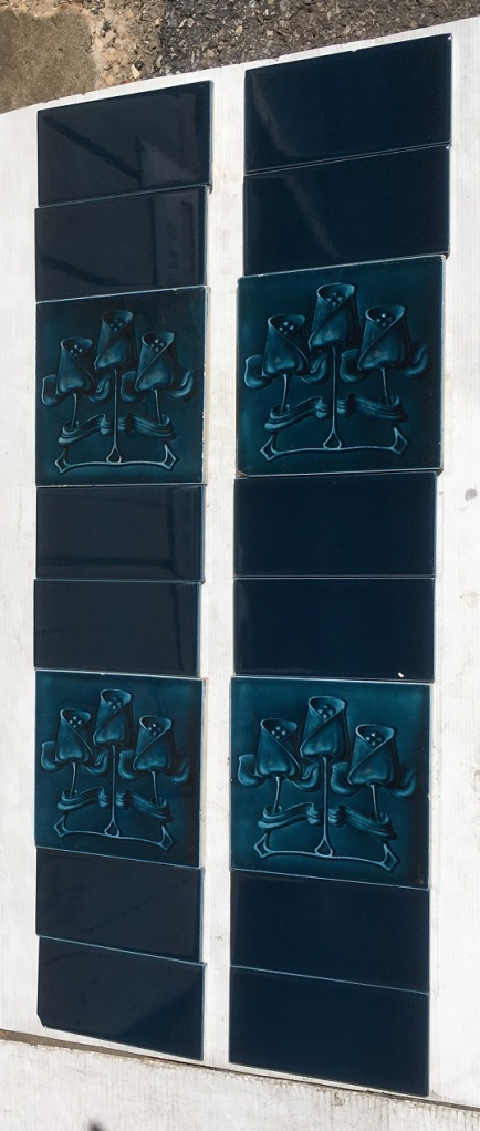 T and R Boote, England c1905, Art Nouveau design, three stylised tulips in deep blue monochrome glaze. Two panel fireplace set $240 SET 222 salvaged, vintage recycled, demolition, reproduction, restoration, home renovation secondhand, used , original, old, reclaimed, heritage, antique, victorian, art nouveau edwardian, georgian, art decoDetail of Deco style lettering to pub door