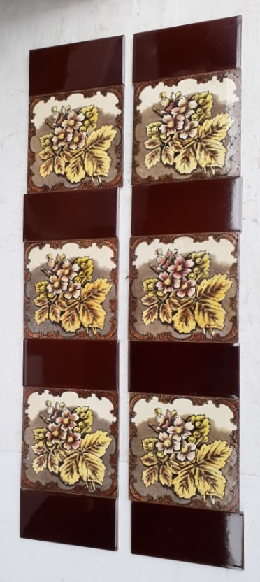 Aesthetic era / late Victorian feature tiles, hand tinted print, flowers and foliage with ornate border, yellows and browns with deep pink highlights, two panel fireplace set $310 OTB 106 (can separate into pairs) salvaged, vintage recycled, demolition, reproduction, restoration, home renovation secondhand, used , original, old, reclaimed, heritage, antique, victorian, art nouveau edwardian, georgian, art decoDetail of Deco style lettering to pub door