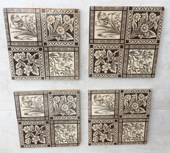 Circa 1895 English Aesthetic tiles, fine detail in printed design grid of four different flowering plants. very deep brown / charcoal on white clay base , 4 available, $37 each SET 252 demolition, reproduction, restoration, home renovation secondhand, used , original, old, reclaimed, heritage, antique, victorian, art nouveau edwardian, georgian, art decoDetail of Deco style lettering to pub door