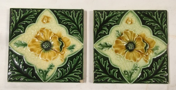 English Aesthetic era c1900 feature tiles, moulded design, yellow flowers with decorative foliage border in green, pair $85 SET 226 salvage recycled demolition, reproduction restoration, renovation, collectable, secondhand, used, original, old, reclaimed heritage, antique restored