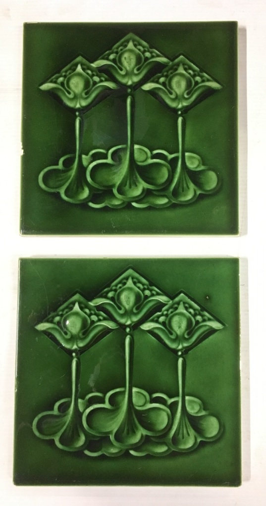 Set 253 T & R Boote, England c 1900, Art Nouveau feature tiles, three stylised flowers, vivid monochrome green glaze. $95 pair WSsalvaged, vintage recycled, demolition, reproduction, restoration, home renovation secondhand, used , original, old, reclaimed, heritage, antique, victorian, art nouveau edwardian, georgian, art decoDetail of Deco style lettering to pub door
