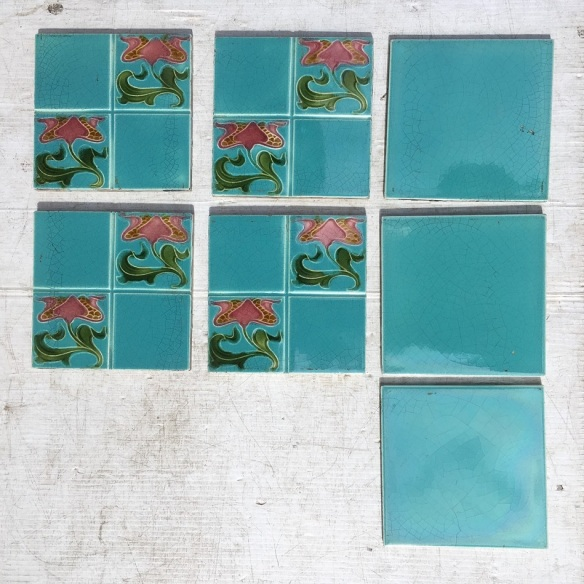 Original Art Nouveau feature tiles, English, stylised pink flowers on aqua blue glaze (there is more of a green tinge to the blue than the photo picks up) $210 whole set SET 250 Original Art Nouveau feature tiles, English, stylised pink flowers on aqua blue glaze (there is more of a green tinge to the blue than the photo picks up) $210 whole set WS salvaged, vintage recycled, demolition, reproduction, restoration, home renovation secondhand, used , original, old, reclaimed, heritage, antique, victorian, art nouveau edwardian, georgian, art decoDetail of Deco style lettering to pub door